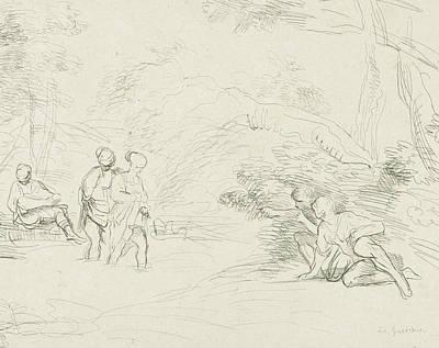 Ligne Drawing - Bathing Women Spied On By Men, Charles Joseph Emmanuel De by Quint Lox