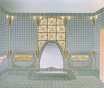 Art Nouveau Drawing - Bathroom Interior Designed By Henri by .