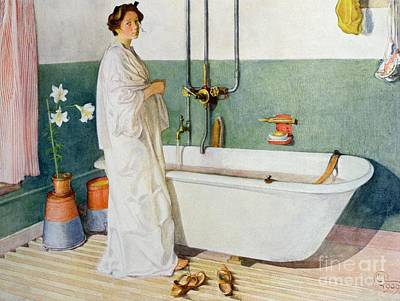 Scandinavian Painting - Bathroom Scene Lisbeth by Carl Larsson