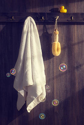 Rubber Duck Photograph - Bathroom Towel by Amanda Elwell