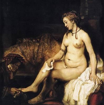 Louvre Painting - Bathsheba Bathing by Rembrandt van Rijn
