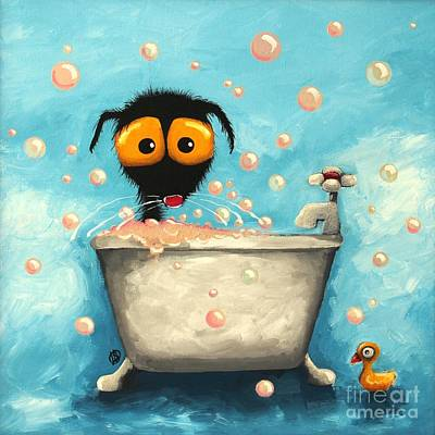Stressie Cat Painting - Bathtime Bubbles by Lucia Stewart