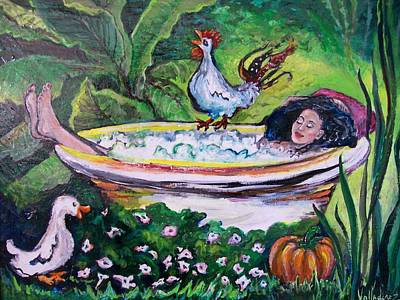 Woman In Shower Painting - Bathtime In The Garden Of Eden by Maria Valladarez