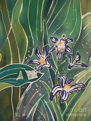 Dye-painted Painting - Batik Detail - Pushkinia by Anna Lisa Yoder