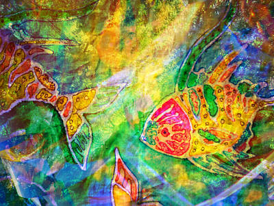 Painting - Batik Fishes - Swimming by Marie Jamieson