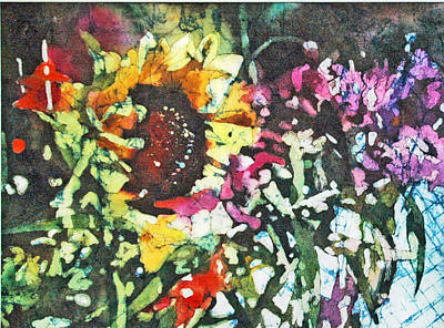 Batik Sunflower 1 Art Print