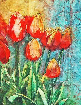 Painting - Batik Tulips by Diane Fujimoto