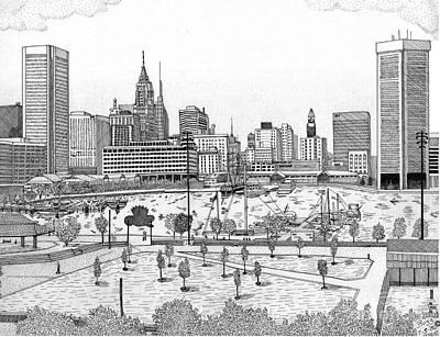 Baltimore City Drawing - Batimore Inner Harbor by Calvert Koerber