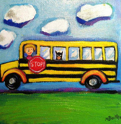 School Bus Painting - Batman Bus Ride by Melissa Bollen