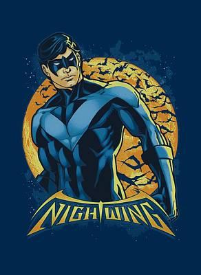 Halloween Digital Art - Batman - Nightwing Moon by Brand A