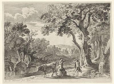 Mercury Drawing - Batt Mercury Turns Into Stone, Herman Van Swanevelt by Herman Van Swanevelt
