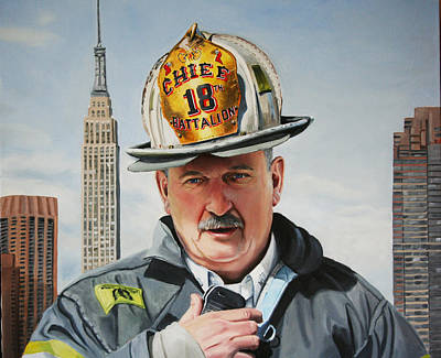 Firefighter Painting - Battalion Commander Chief Salka by Paul Walsh