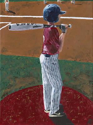 Little League Painting - Batter Up by Adam Dowling