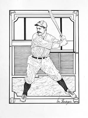Lefty Drawing - Batter Up by Ira Shander