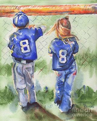 Baseball Players Painting - Batter Up by Maria's Watercolor