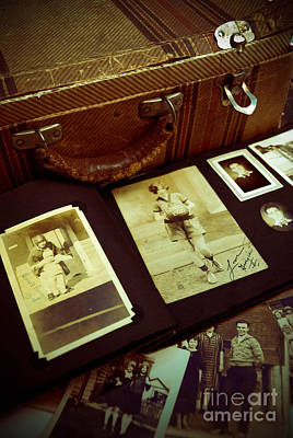 Battered Suitcase Of Antique Photographs Print by Amy Cicconi