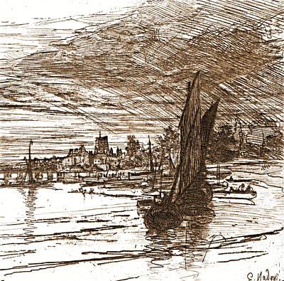 Battersea Bridge England 1868 Art Print by Padre Art