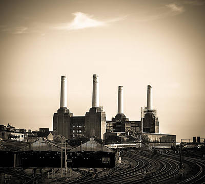 Photograph - Battersea Power Station With Train Tracks by Lenny Carter