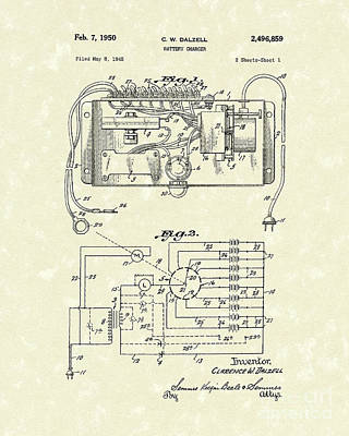 Chargers Drawing - Battery Charger 1950 Patent Art by Prior Art Design