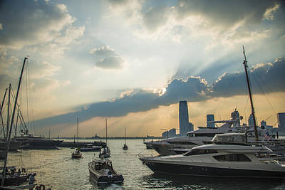 Outerspace Patenets Rights Managed Images - Battery Park City Sunset Royalty-Free Image by Theodore Jones