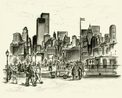 Affordable Drawing - New York Battery Park 1972 by Art America Gallery Peter Potter