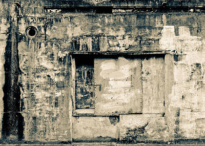 Photograph - Battery Wall Abstract B And W by Ronda Broatch