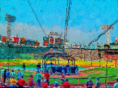 Fenway Park Boston Painting - Batting Cage Fenway by John Farr