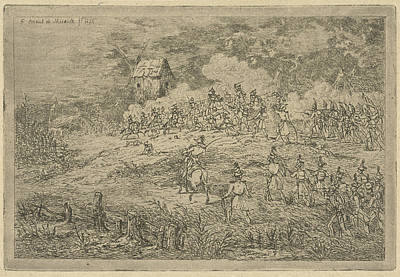 Occur Drawing - Battle Between Cavalry And Infantry, Print Maker Gerardus by Gerardus Emaus De Micault