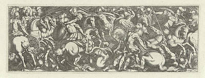 Infantryman Drawing - Battle Between Cavalrymen And Infantrymen by Simon Frisius