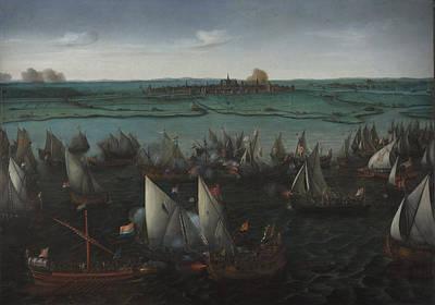Battle Between Dutch And Spanish Ships Art Print