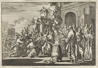 Synagogue Drawing - Battle Between Jews And Greeks In Front Of The Synagogue by Jan Luyken And Pieter Mortier