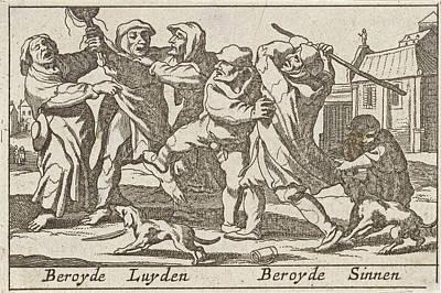 Battle Between Poor People Art Print by Pieter Hendricksz. Schut And Claes Jansz. Visscher (ii)
