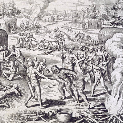 Battle Between Tuppin Tribes Art Print by Theodore De Bry