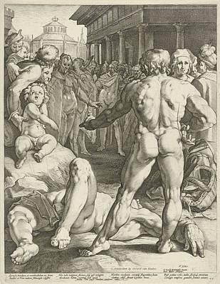 Battle Between Ulysses And Irus Print by Jan Harmensz. Muller And Gerard Van Keulen And Franco Estius