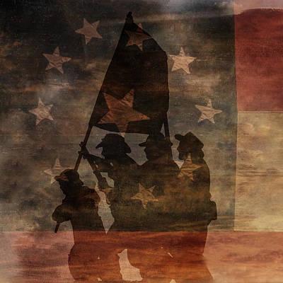 Battle Flag Silhouette 1st Of Three Art Print by Randy Steele