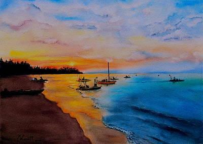 Battle In The Bahamas Art Print by Martine Wardill