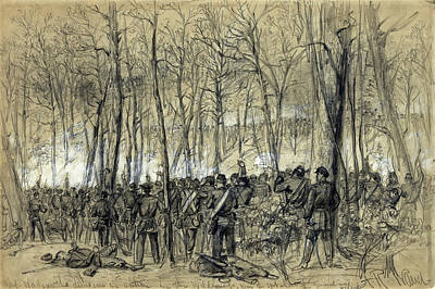 General Grant Drawing - Battle In The Wilderness 1864 - Civil War - Virginia by Daniel Hagerman