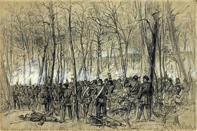 Robert E Lee Drawing - Battle In The Wilderness 1864 - Civil War - Virginia by Daniel Hagerman