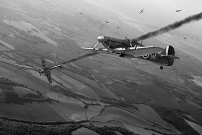 Digital Art - Battle Of Britain Air Combat Black And White Version by Gary Eason