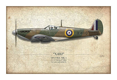 Battle Of Britain Spitfire X4110 - Map Background Art Print