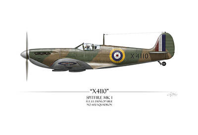 Raf Painting - Battle Of Britain Spitfire X4110 - White Background by Craig Tinder