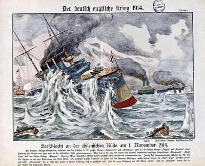 Wreckage Painting - Battle Of Coronel, 1914 by Granger