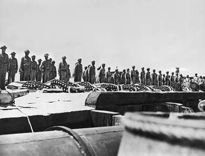 Flag Draped Photograph - Battle Of Midway Coffins by Underwood Archives