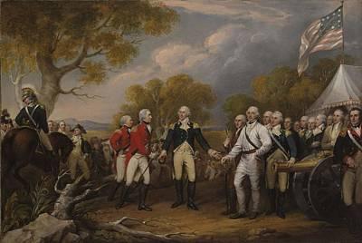 Battle Of Saratoga, The British General John Burgoyne Surrendering Art Print by John Trumbull