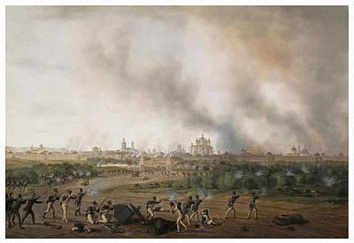 Battle Of Smolensk On 18 August 1812 Art Print by Albrecht Adam