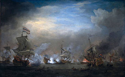 Netherlands Painting - Battle Of Texel  by Willem van de Velde