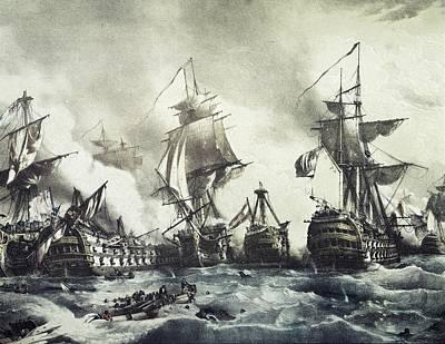 Battle Of Trafalgar, 21st October 1805 Art Print by Everett