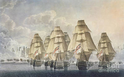 Boats In Water Drawing - Battle Of Trafalgar by Robert Dodd