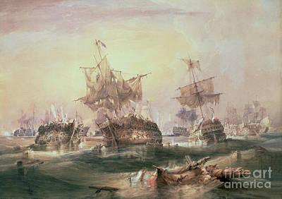 Battle Of Trafalgar Art Print by William John Huggins