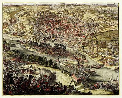 Battle Of Vienna Print by Library Of Congress, Geography And Map Division